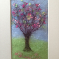 Heart Tree - Embroidered Painting With Wool