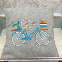 Vintage Bicycle Sewing Theme Cushion Pillow