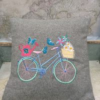 Vintage Bicycle Butterfly Cushion Pillow