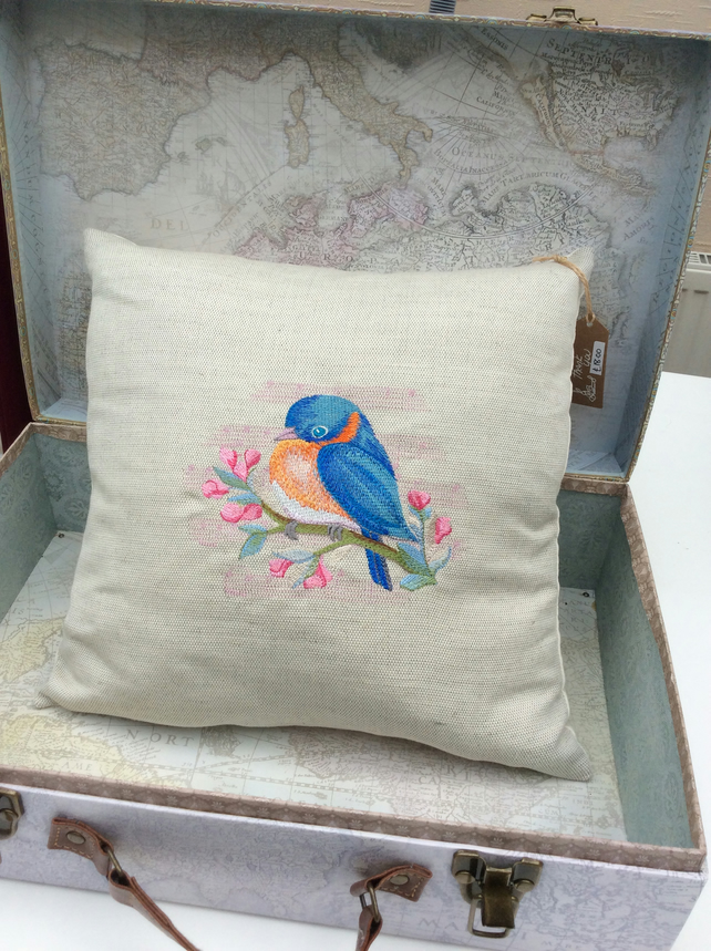 Embroidered Kingfisher Cushion Pillow
