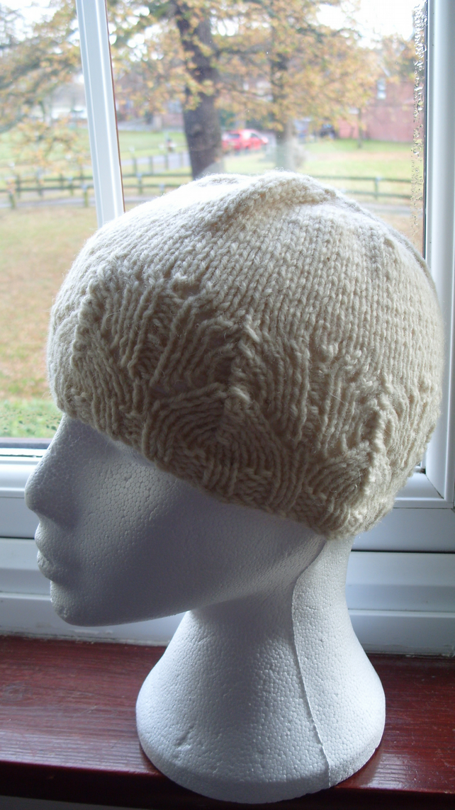 Hand Knitted Aran Beanie Hat With Pattern Folksy
