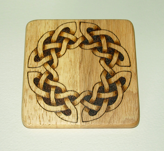 Pyrography wooden oak coaster - celtic pattern - Folksy