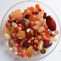 100g-500 crts - Golden Orange Gemstone Bead Scoop - Mixed Shapes Sizes & Colours