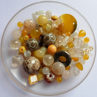 100g-500 crts - Golden Yellow Gemstone Bead Scoop - Mixed Shapes Sizes & Colours