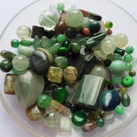 100g-500 crts - Green Gemstone Bead Scoop - Mixed Shapes Sizes & Colours