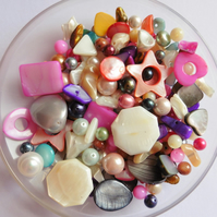 100g Shell & Pearl Gemstone Bead Scoop - Mixed Shapes Sizes & Colours