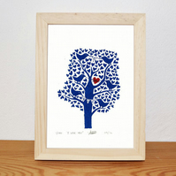 I love you tree Lino print