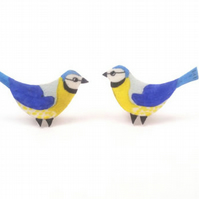 Blue Tit Bird Earrings