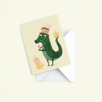 Crocodile Card, Blank card, Happy birthday