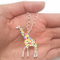 Giraffe Necklace chain, colourful, rainbow