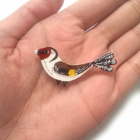 Goldfinch, Bird, Brooch, Hand painted, Badge, Pin