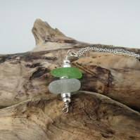 Cornish Sea Glass Stack Necklace in Green and White - Sterling Silver