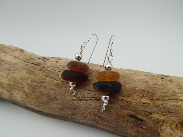 Sea Glass Stack Amber Earrings - Sterling Silver - Cornwall