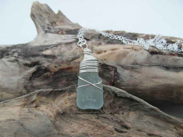 Cornish Mermaids Tear Necklace in Seafoam - Sterling Silver