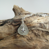 Cornish Sea Glass Necklace with Starfish Charm - Sterling Silver