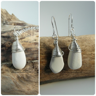White Sea Pottery Earrings and Necklace Set - Cornish - Sterling Silver