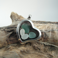 Heart Shaped Beach Treasures Locket - Cornish Sea Glass  - Sterling Silver
