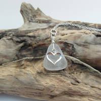 Cornish Sea Glass Necklace in White with Heart Charm - Sterling Silver