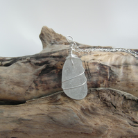 Wire Wrapped Cornish Mermaids Tear Necklace in White - Sterling Silver