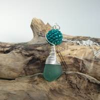 Teal Cornish Mermaids Tear and Hand Woven Bead Necklace - Sterling Silver