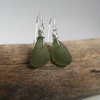 Olive Green Cornish Sea Glass Earrings - Sterling Silver