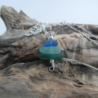 Cornish Sea Glass Stack Necklace in Blue, Sea Foam & Green - Sterling Silver