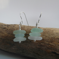 Cornish Sea Glass Stack Earrings - Sterling Silver - Cornwall