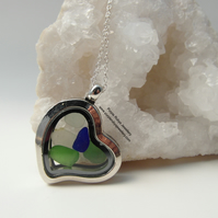 Cornish Sea Glass Heart Locket in Blue, Green and White