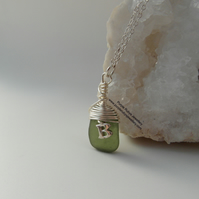 Deep Green Cornish Mermaids Tear Necklace with Silver 'B' Charm