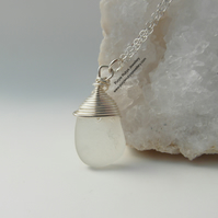 Dainty White Cornish Mermaids Tear Necklace