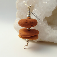 Chunky Cornish Terracotta Sea Pottery Stack Necklace