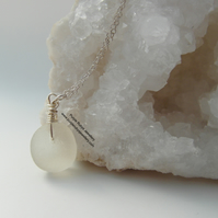 White Curved Cornish Mermaids Tear Necklace