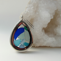 Beach Treasures Teardrop Locket filled with Cornish Blue Sea Glass