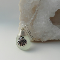 Cornish Mermaids Tear in Seafoam with Seashell Charm Necklace