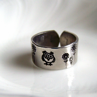 Owl Ring - Daisy Design - Artisan Silver Jewellery Hand Stamped Keepsakes