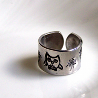 Owl Ring - Children's Size - Artisan Silver Jewellery Stamped Keepsakes