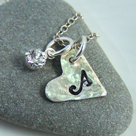 Silver Necklace - Initial Heart Design - Personalised Necklace
