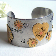 Cuff Bracelet - LOVE mixed metal design by Artisan Silver Jewellery