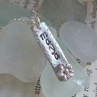Personalised Silver Necklace, Flower detail, Artisan Silver Jewellery
