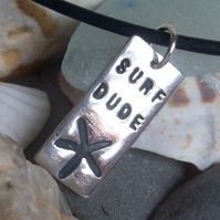 Surf Dude Silver Dog Tag Necklace