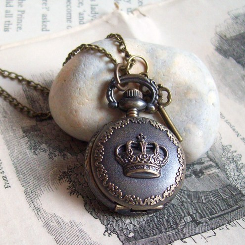 Victorian Crown Vintage Antique Bronze Pendant Watch