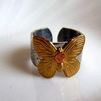 Butterfly Ring - Aluminium Brass Copper -  Artisan Silver Jewellery