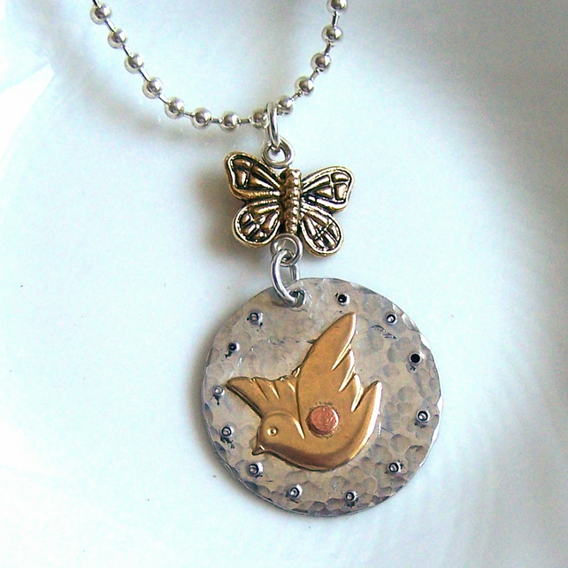 Golden Dove Necklace - Artisan Silver Jewellery and Keepsakes