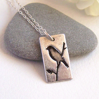 Bird Silhouette Silver Necklace