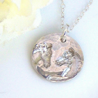 Silver Two Horses Necklace, Chinese New Year Gift