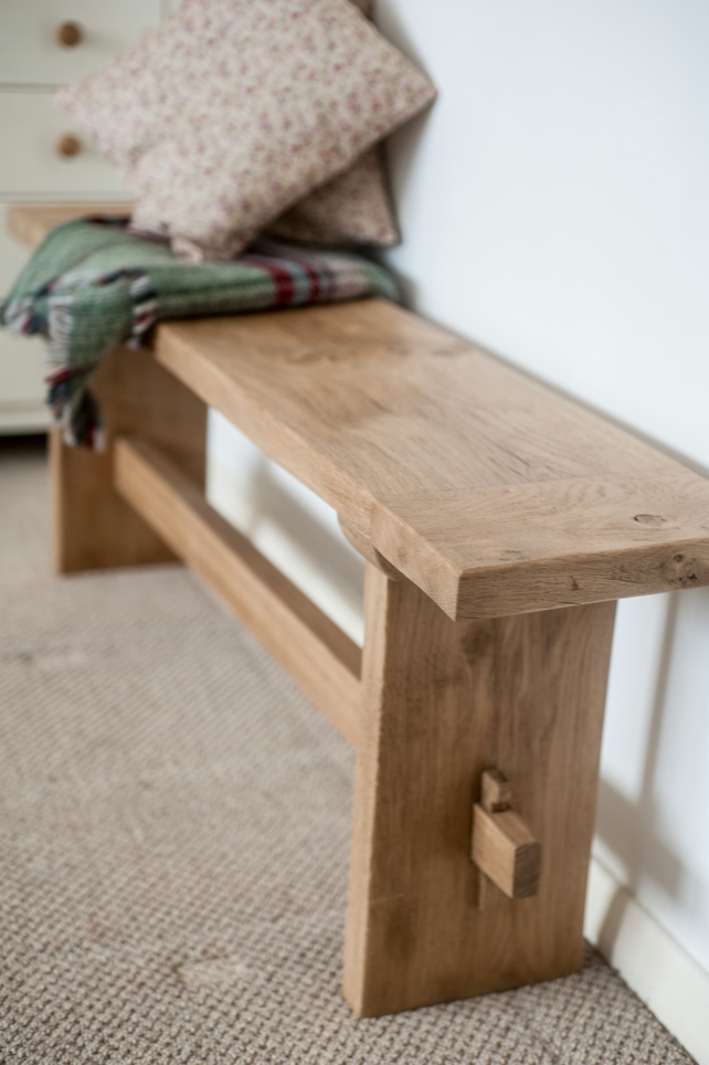 Rustic Solid Oak Dining Bench