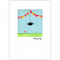 SALE - greetings card :: sidney spider pink bunting