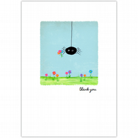 SALE - greetings card :: sidney spider thank you