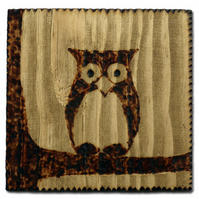 chunky rustic wooden coaster :: little owl