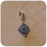 blue beaded sterling silver charm